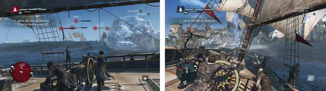 Destroy icebergs to damage the gunships (left). Once you have cleared the ships, sail for Anticosti (right).