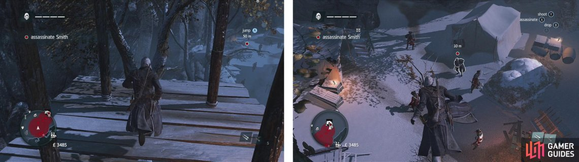 Climb the sniper's tower to find a treetop pathway (left). Follow this to the end for an easy air assassination on our target (right).