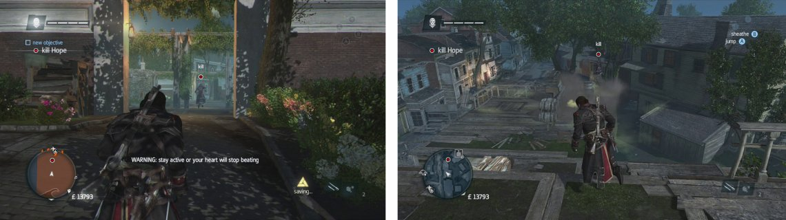 You'll need to chase down and kill the target (left). Avoid the poison gas clouds as you go (right).
