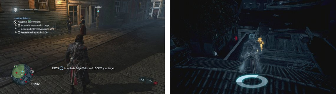 The target can be found along the main street (left). Two assassins are on the rooftops directly behind him (right).