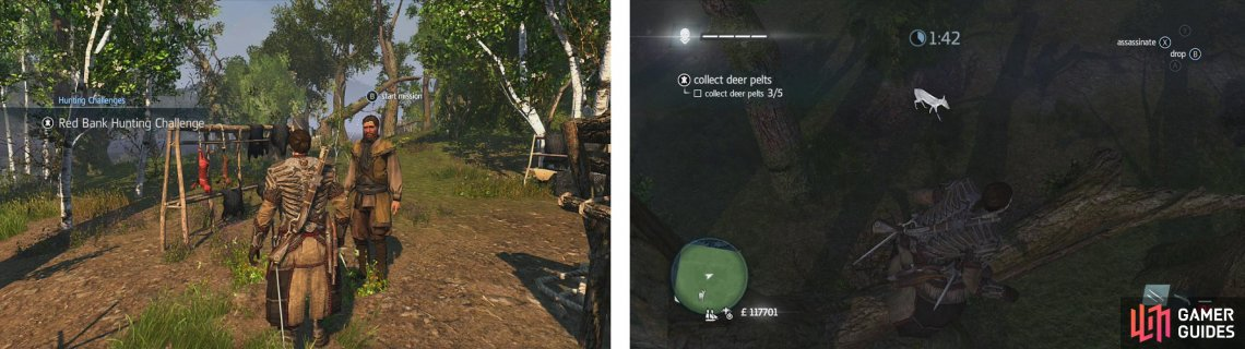 Approach the hunter to start the challenge (left). Use air assassinations or tranquilisers to take the deer (right) down and skin them.