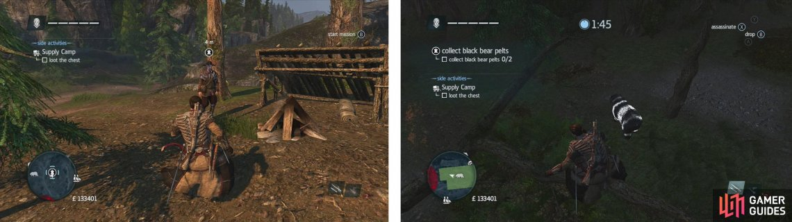 Approach the hunter to start the challenge (left). Use air assassinations or approach bears to initiate the button mash sequence to take them down and skin them (right).