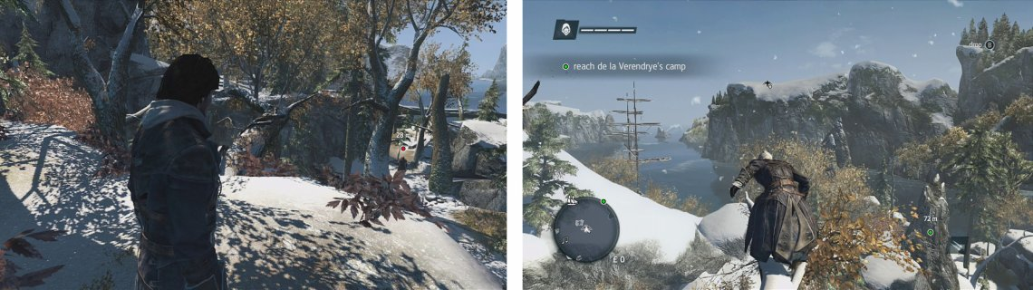 Chase down and assassinate the target (left) and make your way tot he camp (right).
