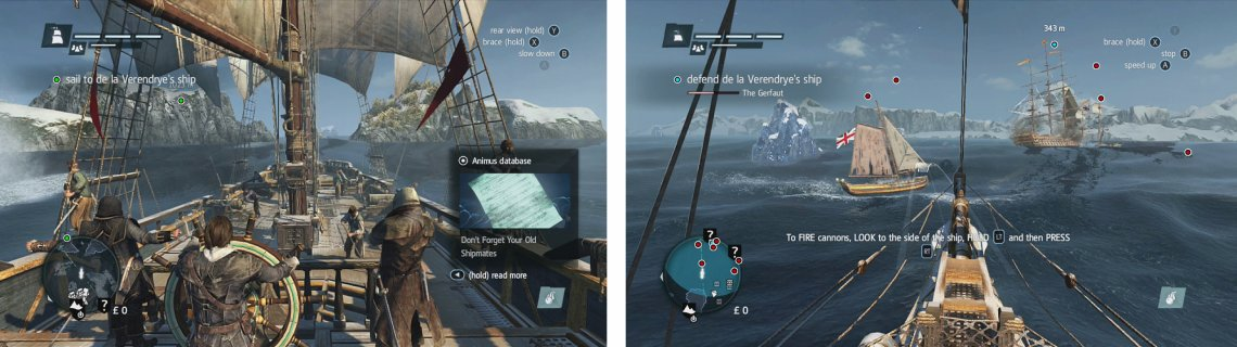 Pilot the ship out to the open sea (left) and then use your weapons to take down the enemy ships (right).