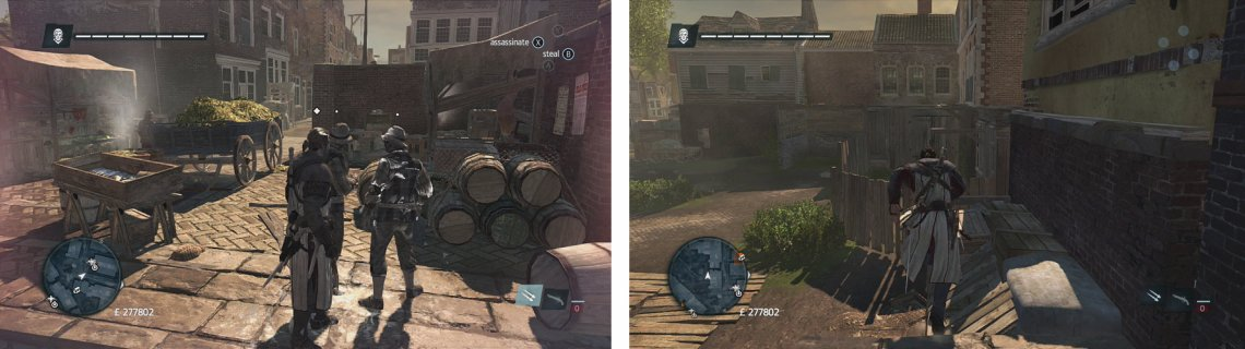 Low profile allows you to blend in with NPCs (left). High profile allows you to freerun (right).