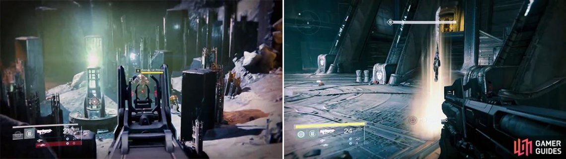 You will find a lot of Swarm Princes in this mission (left). The Sword of Crota (right) is incredibly powerful and can take out lesser enemies in one swing.
