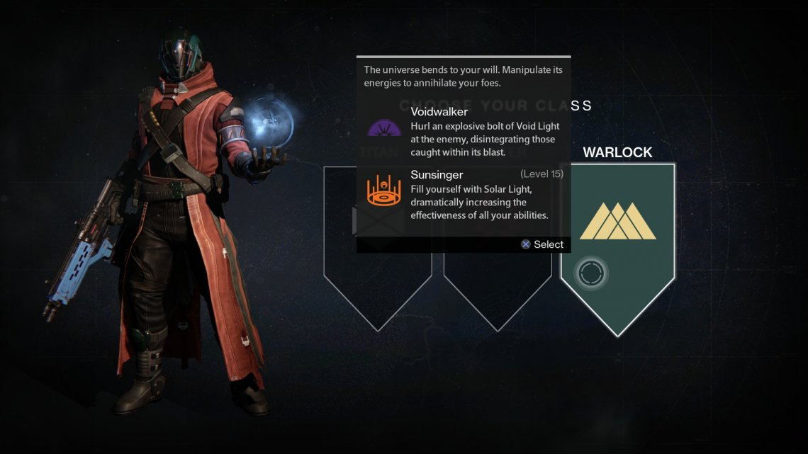 The Warlock uses powerful void and solar abilities to damage enemies. Shiny!