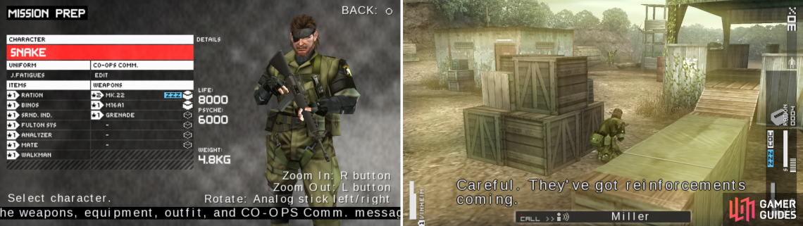 My way to start OPS #3 (left picture). Hide as the mission starts because reinforcements are coming (right picture).