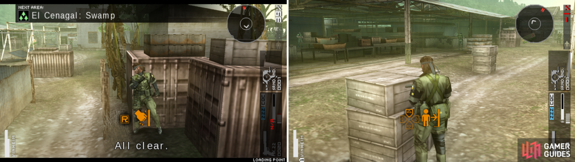 If the soldiers get suspicious you can run to the entrance to hide (left picture). Crates mentioned in the paragraph above (right picture).