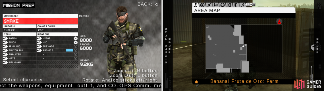 The equipment I used in this OPS (right picture) and probably the best spot to stand ground through the fight (right picture).