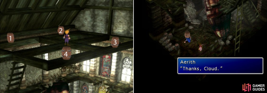 Push the barrels over in the correct order to thwart Shinra's pursuit (left) and earn Aeris's gratitude (right).