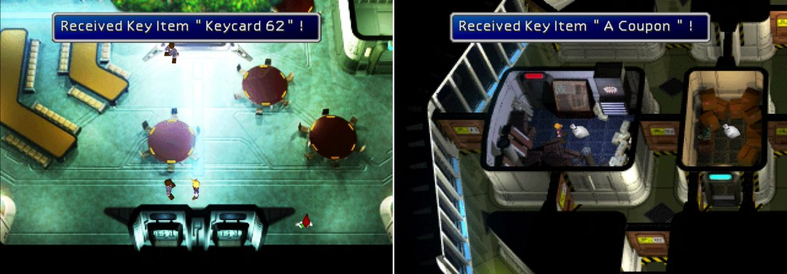 "A misinformed Shinra employee will simply hand you his ""Keycard 62"" if you keep quiet (left). Disregard orders to stay out of the air ducts and claim all three prizes on the 63rd Floor (right)."