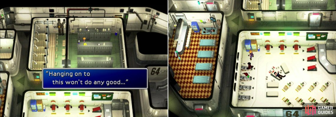 Cloud, in his ignorance, ends up leaving behind one of the most powerful weapons in the game (left). What a dink… If you assault the vending machine now, you can harvest it for some goodies much, much later (right).