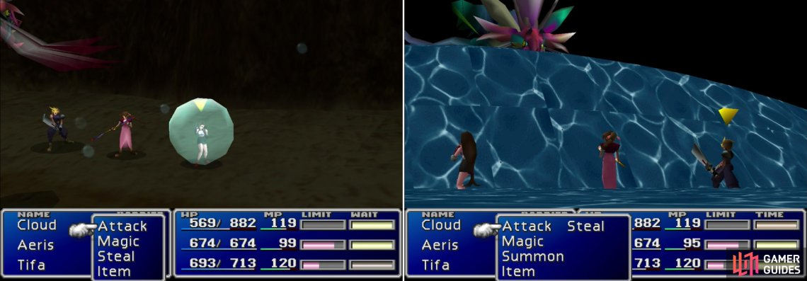 "A character trapped in Bottomswell's ""Waterpolo"" will constantly take damage (left). It's ""Big Wave"" attack will hit the entire party, like Aps' ""Sewer Tsunami"", save Bottomswell is wise enough not to hit itself (right)."