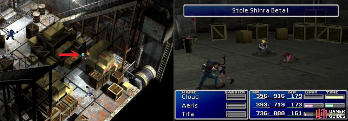 After the ship goes on alert, pick up the All Materia Yuffie was blocking (left). You can also steal Shinra Betas from Marines (right).