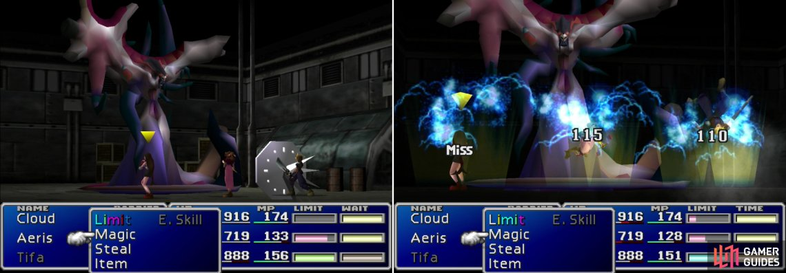 "Jenova-BIRTH's ""Stop"" spell can… well, stop a character in their tracks (left). Her ""Tail Laser"" attack will blast the entire party for a modest amount of damage (right)."