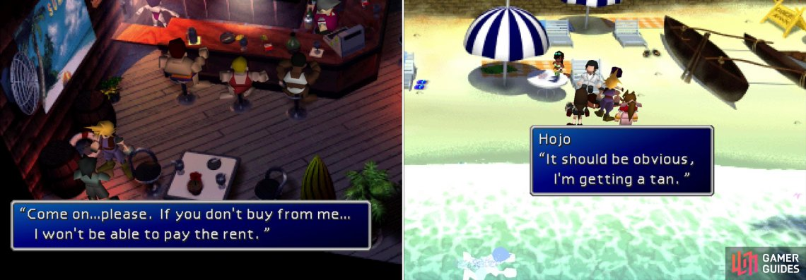 The shady merchant in the bar will sell some interesting pieces of armor (left). On the beach you'll find Hojo, who seems too interested in your pursuit of Sephiroth (right).