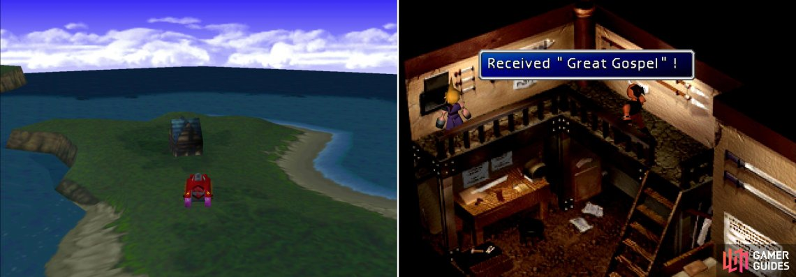 Head over to the isolated house near Gongaga (left) and trade the Mythril you got from the sleeping miner in for the Great Gospel; Aeris's ultimate Limit Break (right).
