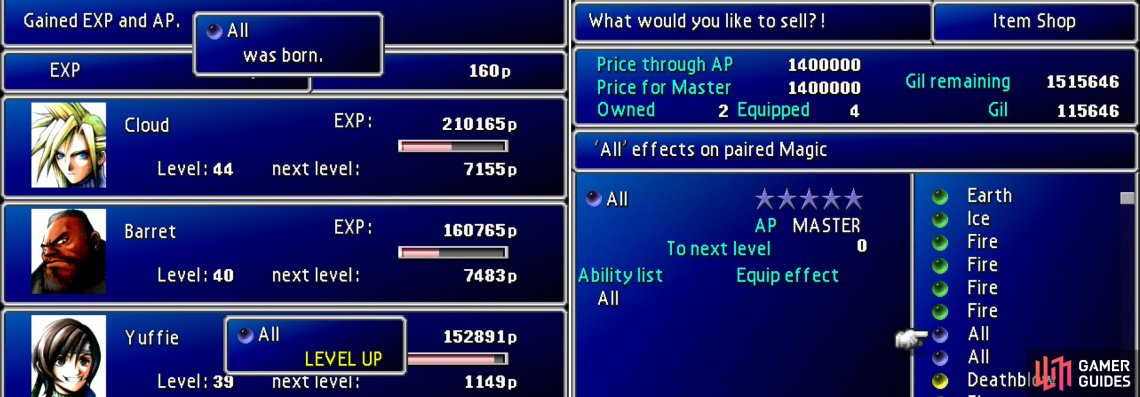 If you spend some time grinding near Mideel until you master a piece of All Materia (left) your money problems will be a thing of the past (right).