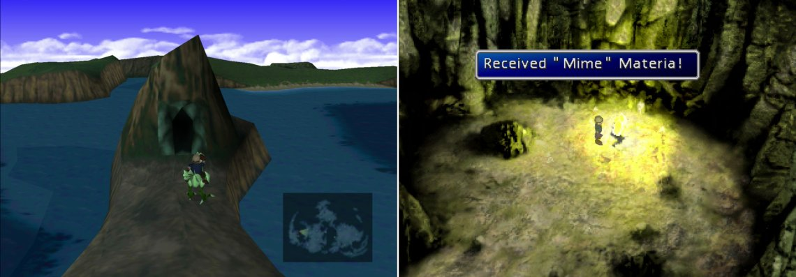 Find a cave near Wutai, which can be reached by riding a Green Chocobo (left). Inside you'll find the immensely useful Mime Materia (right).