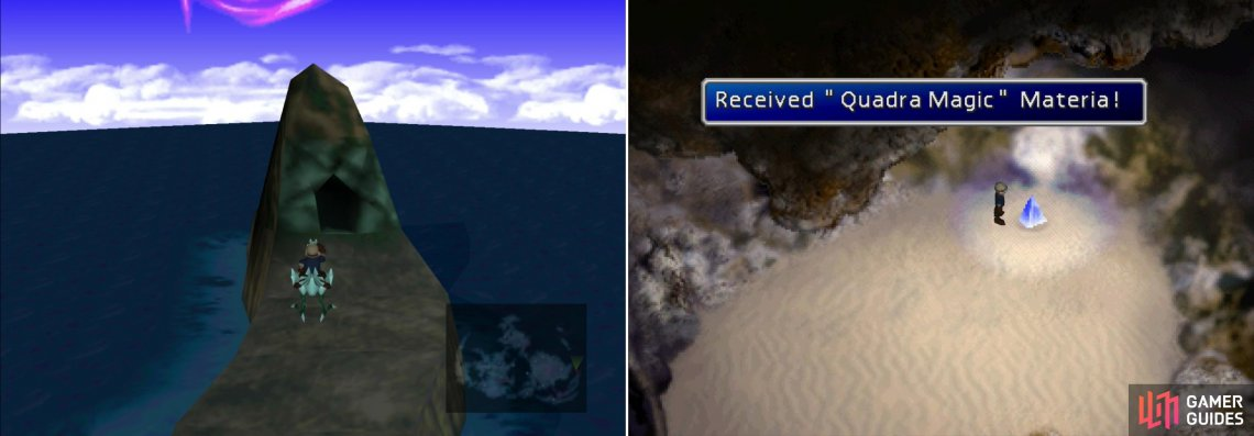 On the northern end of the island chain of which Mideel is part you'll find a cave which can be reached with a Blue Chocobo (left). Inside is the useful Quadra Magic Materia (right).