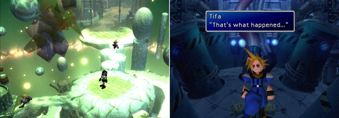 Tifa will have to help Cloud reassemble the broken fragments of his consciousness in the Lifestream (left). After picking through Cloud's repressed memories, the truth will finally be revealed (right).