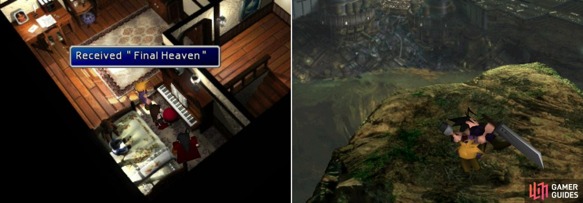 Play Tifa's piano one final time to score her ultimate Limit Break (left) then return to the Shinra Mansion to find out more of Cloud's backstory (right).
