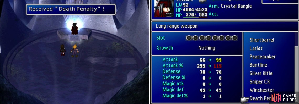 Visit Lucrecia's cave behind the waterfall to obtain Vincent's ultimate Limite Break, Chaos, and his ultimate weapon, Death Penalty (left). Boasting 99 Attack, this weapon charges the more foes Vincent kills (right).