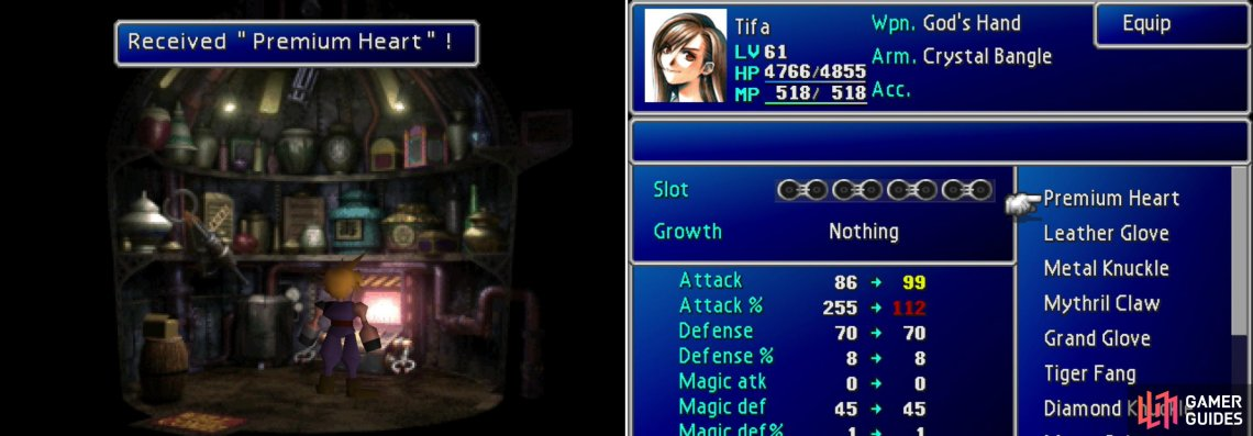 "Molest the machine in the ""ITEM"" shop in Sector 6 to obtain Tifa's ultimate weapon, the Premium Heart (left). Unfortunately for Tifa, the way it charges limits its usefulness compared to other ultimate weapons (right)."