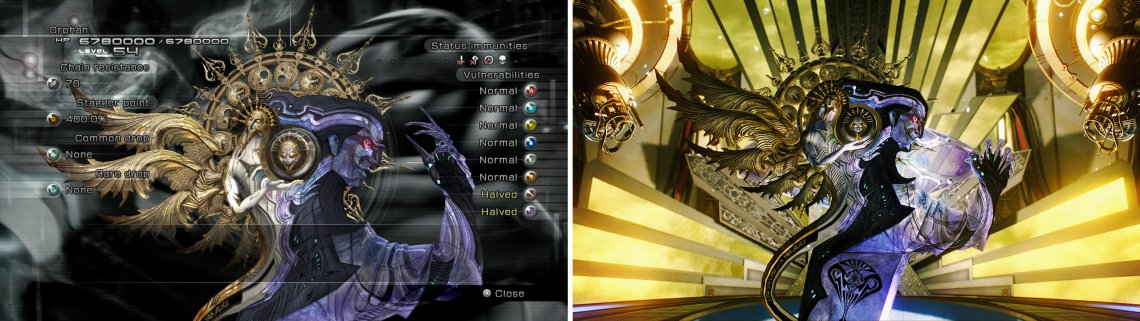 The first form of Orphan is the penultimate boss of Final Fantasy XIII. After Barthandelus is defeated, Orphan's shell emerges from the inky fluid and attacks the party.
