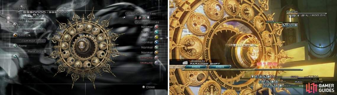 Orphan's second form is the final boss of Final Fantasy XIII. Orphan's true form is revealed after its shell is destroyed by the player party. Defeating Orphan completes the game.