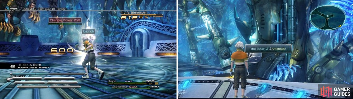 Launch the Behemoth during Stagger (left). 3x Antidotes is your reward for defeating it (right).