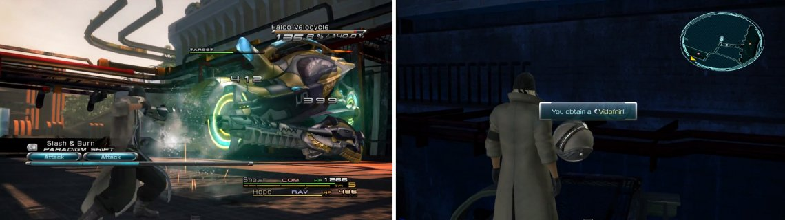 The Falco Velocycle is a powerful adversary (left). Vidofnir location (right).