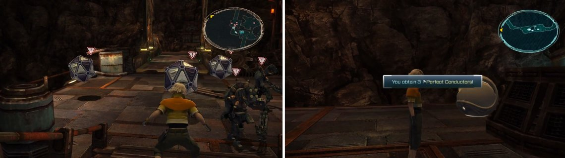 Pulsework Centurions and Cryohedrons fight amongst themselves (left) and the Perfect Conductor location (right).