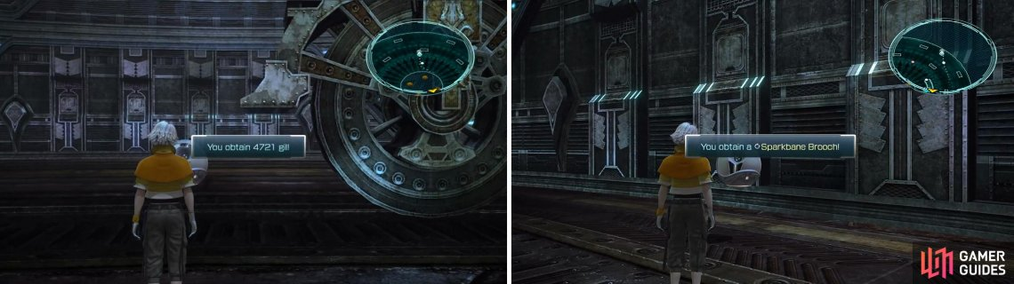 4,721 Gil (left) and Sparkbane Brooch (right) locations.
