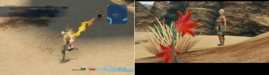 Be wary of Rogue Tomato's Flame Breath (left) after which Vaan will notice some Galbana Blooms (right).