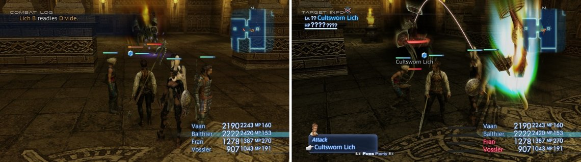 You need to force the Liches to use Divide (left) in order to get the Cultsworn Lich to spawn (right).