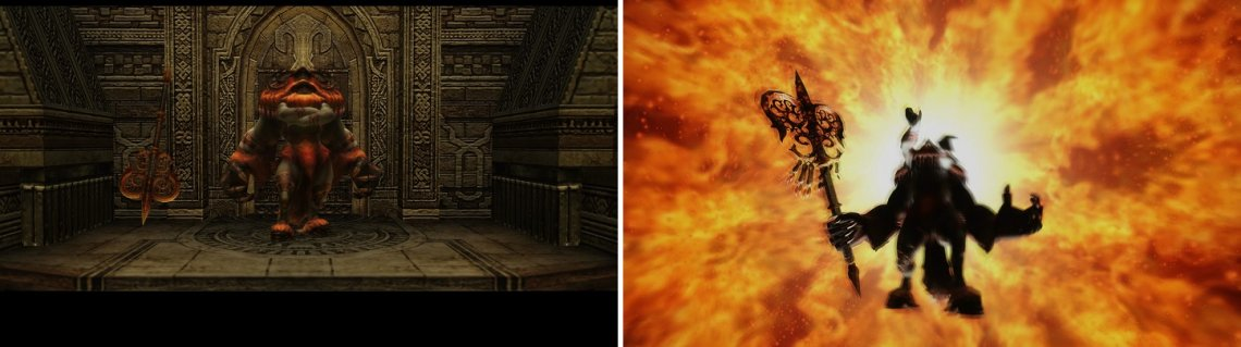 Belias is guarding the Dawn Shard (left). His ultimate skill, Firaja, can be dangerous (right).