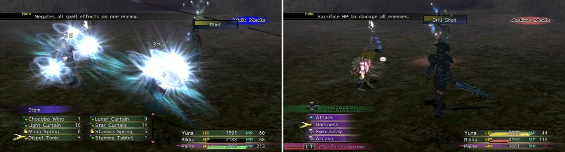 Baralai uses Glint (left) to hit everyone, and later, the nasty Drill Shot (right) which can be mitigated with Protect.