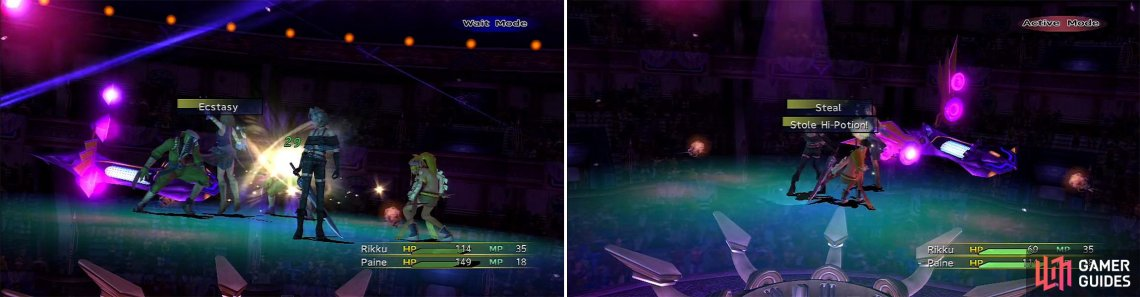 Ecstasy (left) can double the parameters of the Goons but it isn't a significant threat. It is good practice to steal (right) from enemies, especially at this early stage.