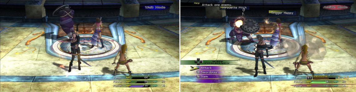 Ormi will do Pirouette Pitch (left) for quite a while but its damage isn't that troublesome. Yuna can use Trigger Happy (right) to build up a nice chain of damage.