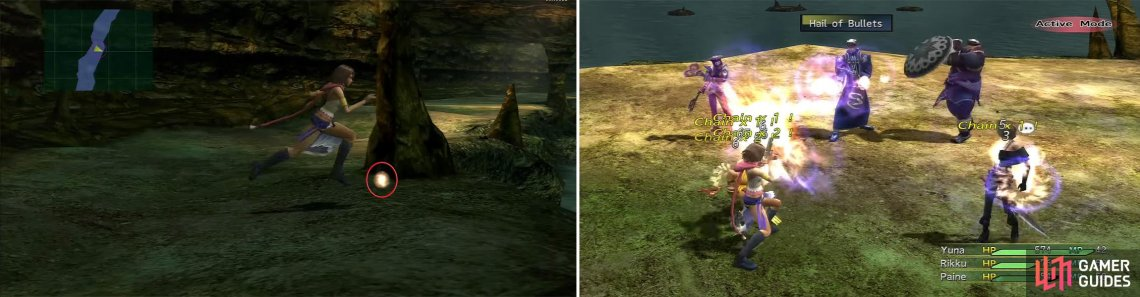 Along the path south you can find Yuna's Special Dressphere (left) which initiates the boss fight. Logos can use Hail of Bullets (right) to hit all party members.