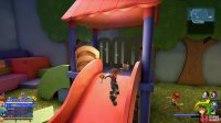 climb the slide to find a chest at the top.