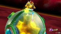 In this image, Bowser is spitting out fire balls
