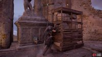 climb up onto the higher platform then move the barricade near the statue to reach the Roman Artifact.
