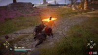 but if you engage in melee combat, he'll use a large spear.