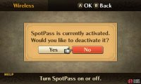 You can turn on SpotPass communication via the Wireless menu.