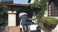 Use the vehicle to climb up onto the roof