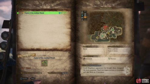 Assignmnets, quests and investigations can be selected via The Handler, or from a quest board