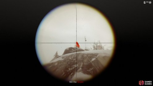the use a scoped rifle and Dead Eye to headshot the sniper.